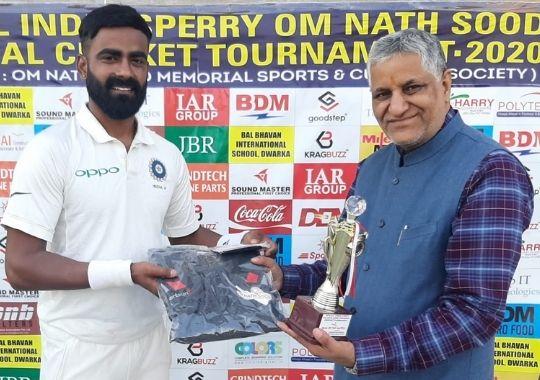 Kulwant Khejroliya's deadly bowling, in the final of the LB Shastri Club Om Nath Sood Cricket