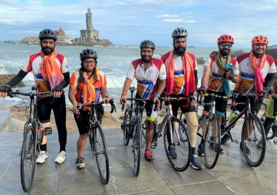 Elated Infinity Ride 2020 cyclists pose in front of Vivekananda Rock Memorial in Kanyakumari after concluding their 45-day long ride from Kashmir to Kanyakumari on Thursday, December 31, 2020 (1)